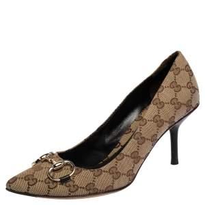 Gucci Beige GG Canvas Horsebit Pointed Toe Pumps Size 40