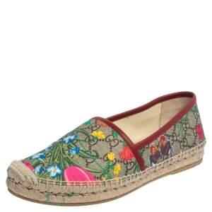 Gucci Multicolor Canvas Blooms Espadrille Flats Size 38.5