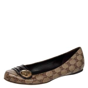 Gucci Brown/Beige Crystal Canvas And Leather Hysteria Ballet Flats Size 38