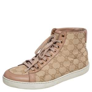 Gucci Beige Leather And GG Supreme Canvas  High Top Sneakers Size 37.5