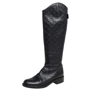 Gucci Black Guccissima Leather Knee Length Boots Size 39