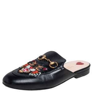 Gucci Black Leather Tiger Embroidered Princetown Horsebit Flats Size 36