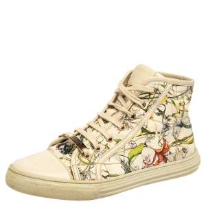 Gucci Multicolor Floral Print Canvas High Top Sneakers Size 38