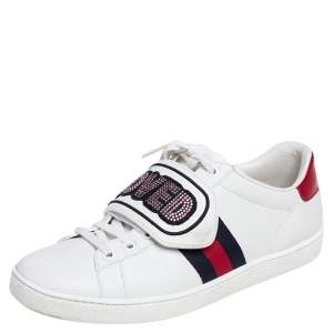 Gucci White Leather Loved Embellished Ace Low Top Sneakers Size 37.5
