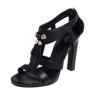 Gucci Black Leather Marrakech Open Toe Block Heel Sandals Size 38.5