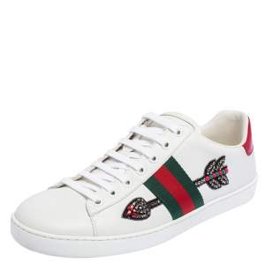 Gucci White Leather And Canvas Ace Embroidered Sneakers Size 39.5