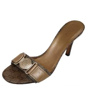 Gucci Gold/Brown GG Crystal Canvas and Leather Interlocking G Buckle Slide Sandals Size 37.5