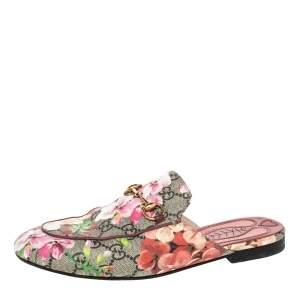 Gucci Multicolor Blooms Canvas Princetown Mule Sandals Size 38