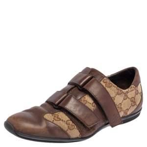Gucci Brown Guccissima Canvas and Leather Velcro Sneaker Size 36