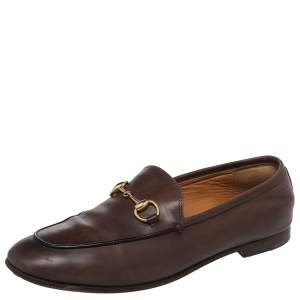 Gucci Brown Leather Jordaan Horsebit Slip On Loafers Size 37