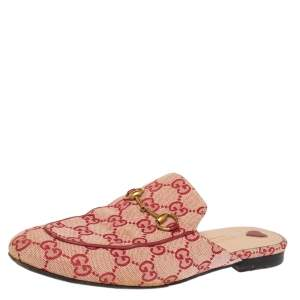 Gucci Red GG Canvas Princetown Horsebit Mules Size 39