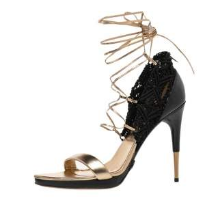 Gucci Gold/Black Leather And Crochet Open Toe Ankle Wrap Sandals Size 38