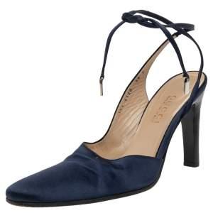Gucci Blue Satin Ankle Wrap Sandals Size 38