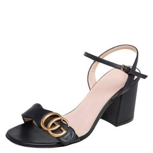 Gucci Black Leather GG Marmont Block Heel Ankle Strap Sandals Size 35.5
