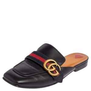 Gucci Black Leather Peyton Flat Mules Size 36