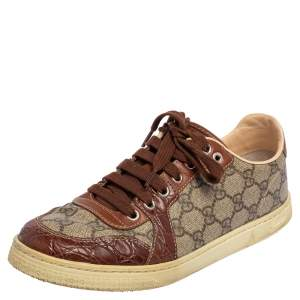 Gucci Brown/Beige GG Supreme Canvas, Leather and Alligator Trim Brooklyn Sneakers Size 39