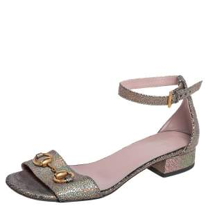 Gucci Multicolor Metallic Leather Horsebit Ankle Strap Sandals Size 36