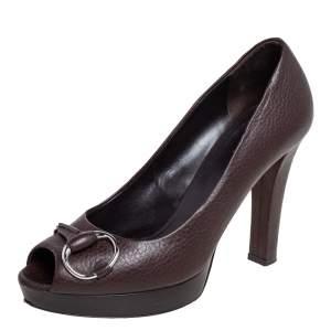 Gucci Dark Brown Leather Horsebit Peep Toe Pumps Size 38