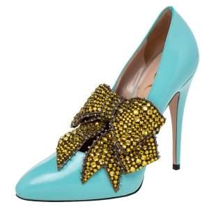 Gucci Aqua Blue Leather Elaisa Removable Crystal Bow Strap Pumps Size 38