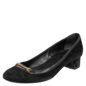Gucci Black Suede And Leather Trim Horsebit Block Heel Pumps Size 37.5