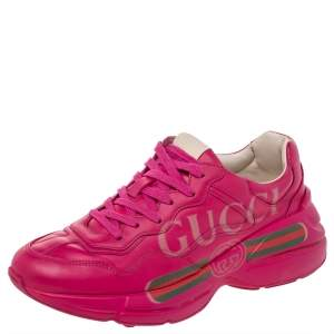 Gucci Pink Leather Rhyton Logo Print Low Top Sneakers Size 38