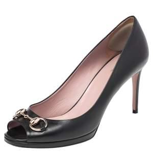 Gucci Black Leather Jolene Horsebit Peep Toe Pumps Size 38