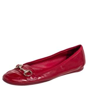 Gucci Red Patent Leather Horsebit Ballet Flats Size 39.5
