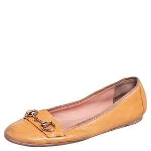 Gucci Yellow Patent Leather Horsebit Ballet Flats Size 39
