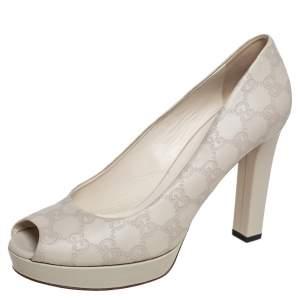 Gucci Cream Guccissima Leather Peep Toe Platform Pumps Size 40