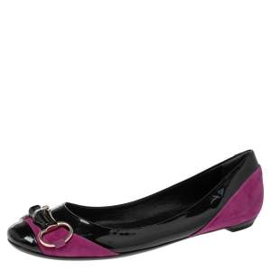 Gucci Black/Purple Patent Leather and Suede Bamboo Horsebit Ballet Flats Size 38