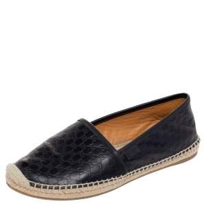 Gucci Black Guccissima Leather Espadrilles Flats Size 39