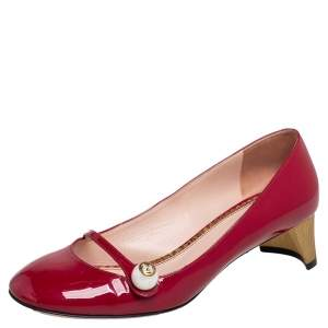 Gucci Red Patent Leather Pearl Detail Mary Jane Pumps Size 37.5
