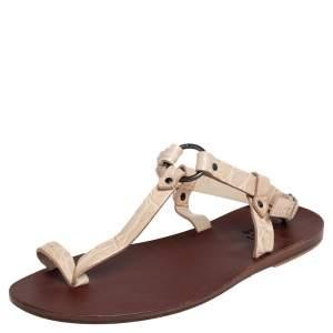Gucci Light Cream Crocodile Toe Ring Sling Buckle Flat Sandals Size 41