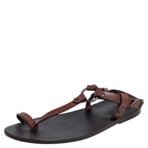 Gucci Brown Leather Toe Ring Sling Buckle Flat Sandals Size 40.5