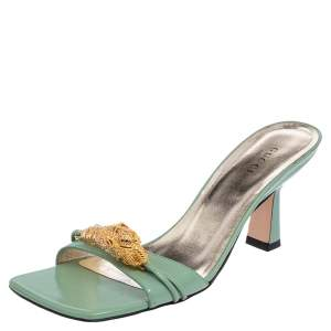 Gucci Green Glossy Leather Dora Open Toe Slide Sandals Size 37.5
