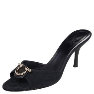 Gucci Black GG Canvas Slide Sandals Size 37