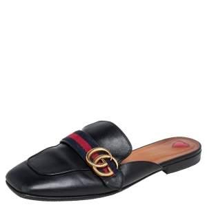 Gucci Black Leather Peyton GG Web Mules Size 38.5