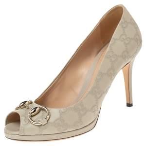 Gucci Cream Guccissima Leather Horsebit Peep Toe Pumps Size 38