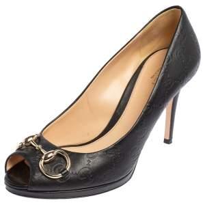 Gucci Black Guccissima Leather Horsebit Peep Toe Pumps Size 38