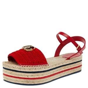 Gucci Red Crochet Lilibeth Logo Embellished Platform Espadrille Flats Size 40