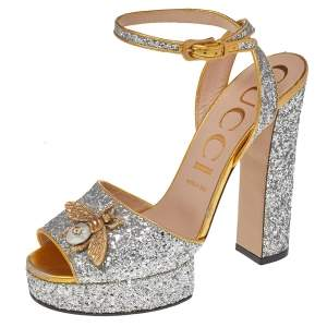 Gucci Silver/Gold Glitter Fabric And Leather Soko Bee Platform Ankle Strap Sandals Size 40