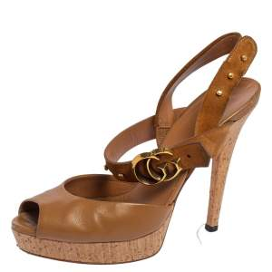Gucci Brown Leather and Suede GG Cork Platform Peep Toe Slingback Sandals Size 38