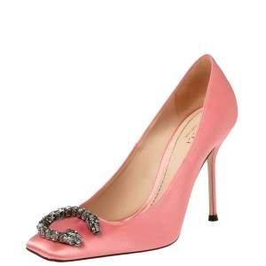 Gucci Pink Satin Dionysus Buckle Square Toe Pumps Size 37.5