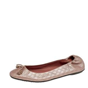 Gucci Pink Micro Guccissima Leather Bow Detail Ballet Flats Size 37.5