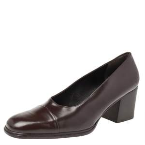 Gucci Dark Brown Leather Square Toe Block Heel Pumps Size 37.5