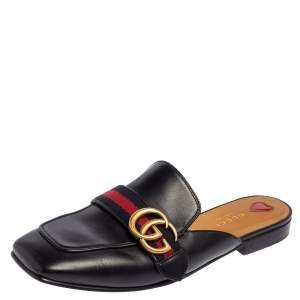 Gucci Black Leather Peyton GG Web Mules Size 38