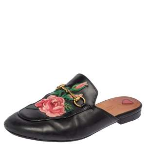 Gucci Black Floral Embroidered Leather Princetown Mules Size 39.5