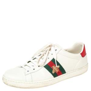 Gucci White Python Embossed And  Leather  Ace Sneakers Size 39