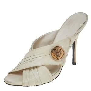 Gucci White Leather Hysteria Cross Slide Sandals Size 39