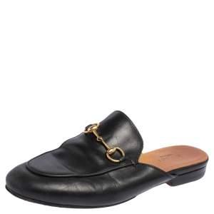 Gucci Black Leather Princetown Horsebit Mules Size 36